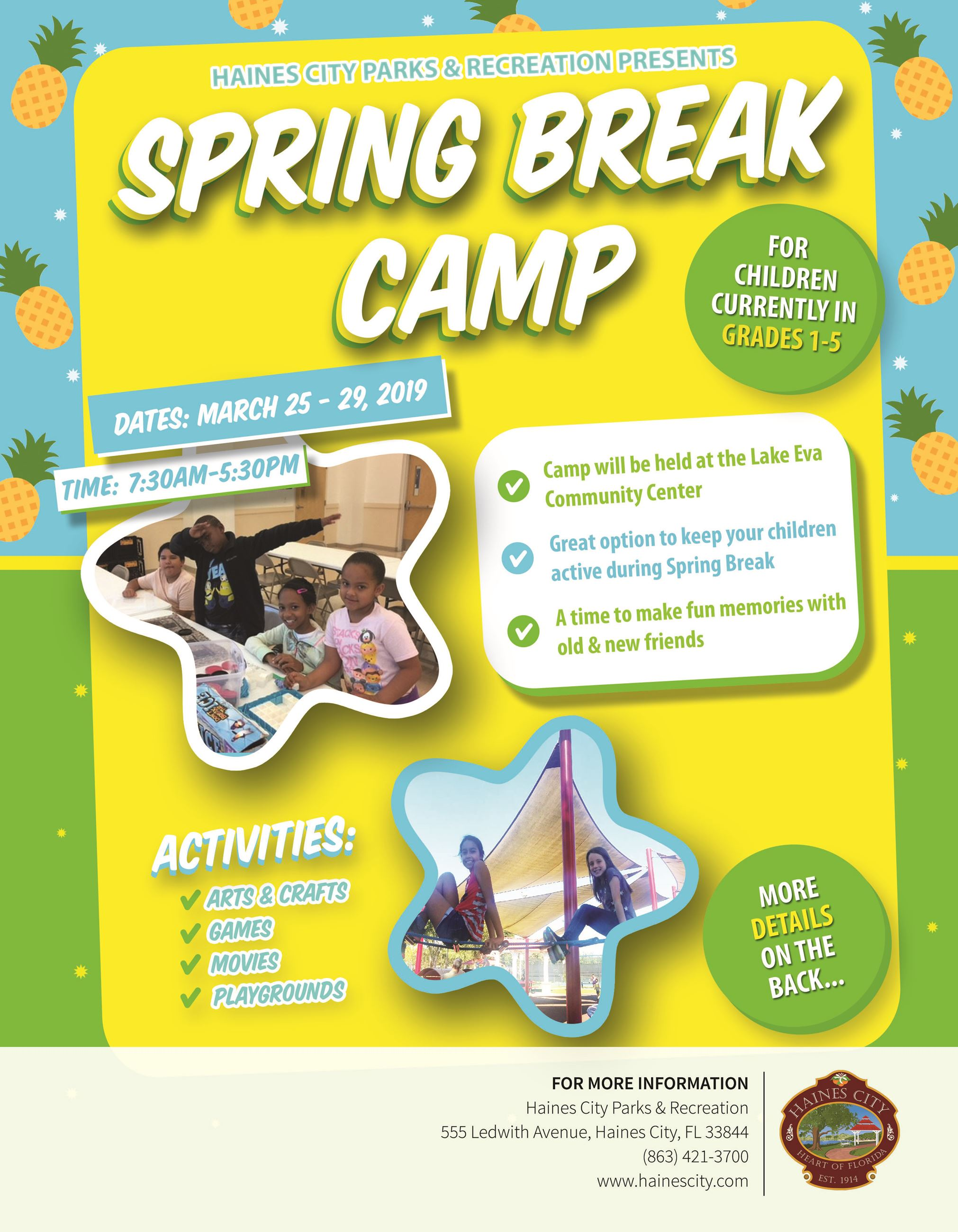 Flyer Front Spring Break Camp 2019.  This camp is held for grades 1-5 starting march 25th - 29th.  F