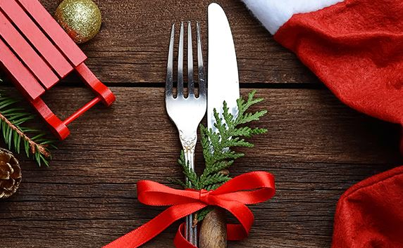 christmas fork & knife place setting